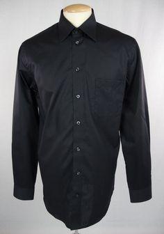 KLAUSS BOEHLER New Mens Shirt Size 16 Long L Black Long Sleeve $125 #KlaussBoehler