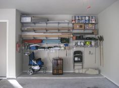 43 Neat and Tasty in the Standpoint of the Garage Wall Organization Ideas - Daily Home List Elfa Shelving, Garage Storage Shelves, Garage Storage Solutions, Wall Shelves, Storage Spaces, Locker Storage, Shelving Ideas, Storage Ideas, Basement Storage