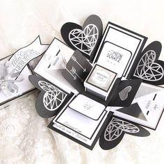 Am Wochenende wurde diese wunderschöne Box verschenkt. Vielen liebeb Dank @burcuuu_____62 für dein Vertrauen und dass ich dir diese Box machen durfte. #birthday #box #stamping #stampinupdemo #stampinup #verpackung #exposionbox #zumgeburtstag #zumverschenken #geschenk #geburtstag #papierliebe #papetarie #paperlove #basteln #handgemacht #handmade #paperdesign #weiß #schwarz #papierkunst #geschenkverpackung #silber #glitzer #glamer #funkel #liebesbotschaft #herzlichenglückwunsch #herzchen… Stampinup, Place Cards, Place Card Holders, Photo And Video, Harry Potter, Instagram, Amor, Manualidades, Papercraft