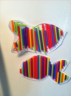Make a fish out of drinking straws. Cut straws all different sizes and glue down.  Add google eye too!  Great kid craft for PK, K, 1st and 2nd and 3rd grade.  Helps improve fine motor skills too!