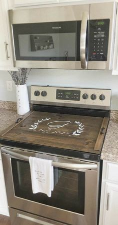 Stove Top Cover, Custom Wooden Stove Cover, Personalized Gift, Custom gift, Farmhouse decor, Farmhouse style, Rustic decor, Home decor, Kitchen decor #ad