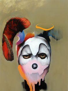 "Saatchi Art Artist Michał Janowski; Painting, ""Trickster; Man with the Red Horn"" #art"