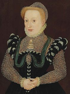 ca. 1568 Lady in a black dress with embroidered sleeves, partlet, and cap by Master of the Countess of Warwick(auctioned by Christie's) Wm