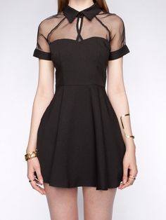 mesh top sweetheart skater dress