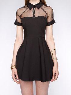 mesh top sweetheart skater dress