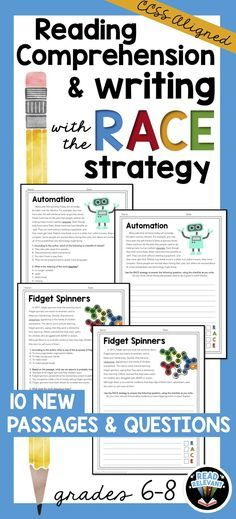 Help your students comprehend informational texts and write short responses using the RACE strategy. This packet is great practice and test-prep!