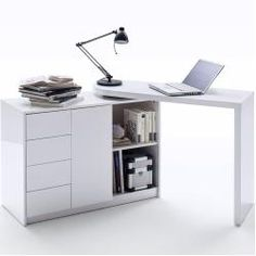 MARTIN 2 in 1 Home Office Desk - Space saving desk and sideboard combination - Modern White High Gloss finish swivel desk Office Storage Furniture, Office Furniture Design, Home Office Design, Space Saving Desk, Desk Space, Work Desk, Office Desk, Estilo Indie, L Shaped Desk