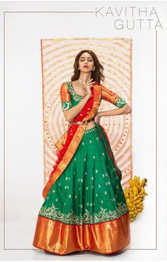 Perfect for a bride who loves quirky yet traditional look. Check out this Kanchipuram embroidered lehanga at our Atlanta show on oct and at Hilton Garden Inn North Alpharetta RSVP link in bio . Lehenga Crop Top, Half Saree Lehenga, Saree Gown, Sari Dress, Anarkali, Sharara, Indian Gowns, Indian Outfits, Indian Wear
