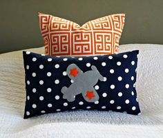 Modern Airplane Nursery:  Navy, Orange and Grey Lumbar Pillow Cover by nest2impress on etsy