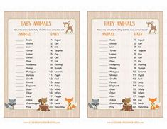 Baby Shower Games - Baby Animals Match will test your guests knowledge of animal babies! Players try to match the babies to their mommy animals to see who can get the most correct. It's super cute and fun to play! INSTANT DOWNLOAD – You can print your Baby Animals Match PDF right away! ---------- Baby Animals Match G