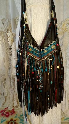 Custom for Christina Brown Leather Cross Body Bag Fringe Boho Hobo Purse tmyers #Handmade #MessengerCrossBody