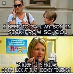 I work at a school----- and this is true. Funny Hockey Memes, Hockey Quotes, Stupid Memes, Hockey Girls, Hockey Mom, Ice Hockey, Hockey Stuff, Hockey Tournaments, Hockey Players