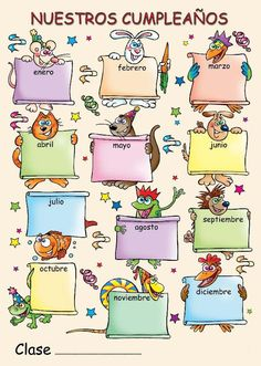 The Language Stickers Company ( Spanish poster - Nuestros cumpleaños Spanish Teacher, Spanish Classroom, Classroom Walls, Classroom Decor, Classroom Birthday, Birthday Charts, School Clipart, Birthday Calendar, School Subjects