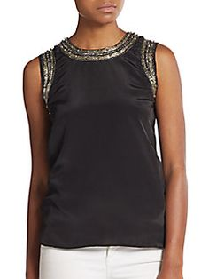 Chain-Embroidered Satin Top