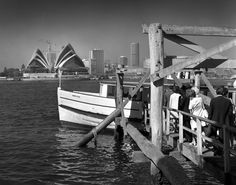 Sydney Opera House from Beulah St wharf, Kirribilli shows Evelyn Star ferry. Max Dupain photo, 1971.