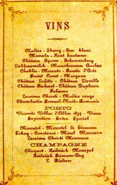 Cartas de Vinhos e Bebidas  Foram cometidos alguns excessos nas bebidas. As notícias dizem que foram consumidas milhares de garrafas de vinhos de diversas procedências, prevalecendo os do Porto e Algarve. Isso significa de duas a três garrafas para cada convidado, sem contar as 300 caixas de champanhe francesa.As bebidas oferecidas: 258 caixas de vinho (Château d'Yquem, Château Lafitte, Château Duplessis, Chablis, Liebfraumilch, Madère Rouge, Marsala, Lacrima Christi),....