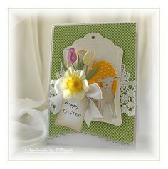 Materials from Marianne Design: Tulips; Little lamb; Marianne Design, Happy Easter, Quilling, Bunny, Greeting Cards, Easter Card, Paper, Frame, Blog