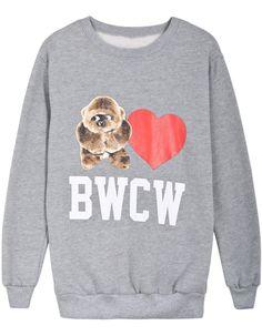 Grey Long Sleeve Orangutan Heart BWCW Print Sweatshirt US$32.79