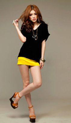 Split-Shoulder Leisure Bat Sleeve Shirt Black - BuyTrends.com