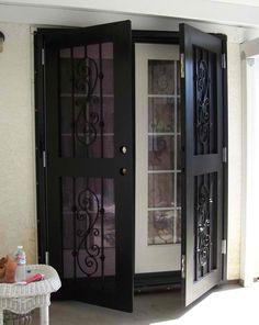 Doors Screen Doors For French Doors With Two Doors In Black Choosing Screen Doors for French Doors
