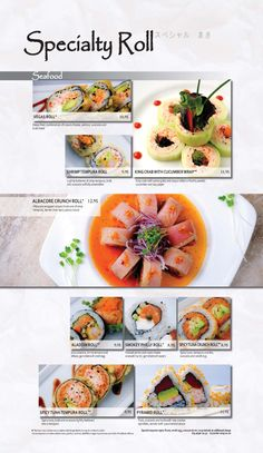 Main Menu | Kabuki Restaurant Tempura Roll, Main Menu, Food Menu, Creative Food, Japanese Food, Maine, Rolls, Recipes