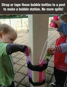 Tape your kid's bubble wand to a pole or wall for a spill-proof bubble station. Tape your kid's bubble wand to a pole or wall for a spill-proof bubble station. Kids And Parenting, Parenting Hacks, Parenting Quotes, Single Parenting, Bubble Station, Family Day Care, Bubble Wands, Bubble Bottle, Toddler Fun