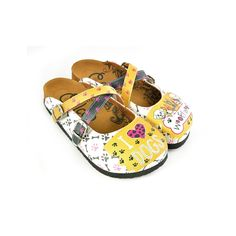 Goby Women's Shoes ''Yellow&White I love dogs Crisscross Clogs'' Sandals 'WCAL149' How To Start Conversations, Clog Sandals, How To Make Paint, Buy Shoes Online, Artificial Leather, Baby Shoes, Women's Shoes, Comfortable Sandals, Palm Beach Sandals