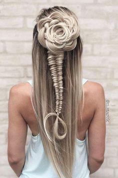 30 Overwhelming Boho Wedding Hairstyles ❤️ boho wedding hairstyles flowershaped half up half down nstarck ❤️ See more: http://www.weddingforward.com/boho-wedding-hairstyles/ #wedding #bride #weddinghairstyles #bohoweddinghairstyles