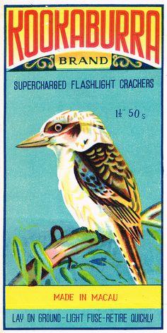 Kookaburra firecracker pack label - made in macau Vintage Labels, Vintage Ads, Vintage Posters, Graphics Vintage, Illustrations, Illustration Art, Vintage Fireworks, Matchbox Art, Firecracker