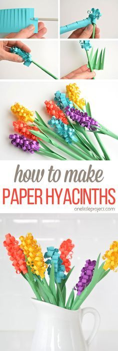 These paper hyacinth flowers are easy to put together and make a gorgeous DIY bouquet! Such a fun spring craft idea! These paper hyacinth flowers are easy to put together and make a gorgeous DIY bouquet! Such a fun spring craft idea! Kids Crafts, Easy Diy Crafts, Craft Projects, Craft Ideas, Fun Diy, Diy Ideas, Summer Crafts, Kids Diy, Decor Crafts