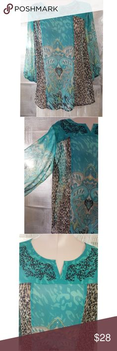 Style+company turquoise blue and leopard sheer top Style+company turquoise blue and leopard sheer top Great over a tank top or a bathing suit even wear it over a dress   Pre owned condition *******All items are in pre owned condition, Nothing, unless noted , is brand new **** please ask questions For sale in my posh closet  LINK IN MY BIO Style & Co Tops Blouses