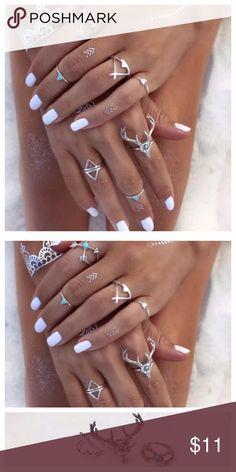 💍❤️boho set💍❤️#trendy 💍❤️7pcs/lot Vintage Ethnic Bohemian💍❤️ Jewelry Rings