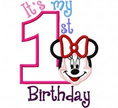 My First Birthday Miss Mouse Full Face one 1 by CindysAppliques Embroidery Designs, Applique Design, Hawaiian Art, Full Face, Birthday Quotes, First Birthdays, Machine Embroidery, Clip Art, 4x4