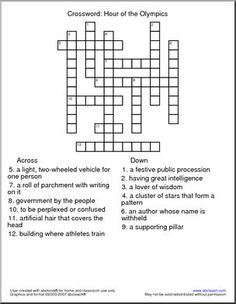 Crossword: Hour of the Olympics - Featuring vocabulary from Mary Pope Osborne's 16th Magic Tree House book (this crossword can be used without the book). Comprehension questions for this book are available on our member site.