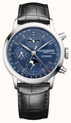 Baume et Mercier Classima Chronograph Complete Calendar Watches For Men, Unique Watches, Elegant Watches, Watch Brands, Stainless Steel Case, Luxury Watches, Jewels, Leather, Accessories