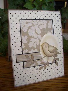 handmade card ... monochromatic neutrals ... bird punch focal point ... like the card layout .. lovely ... Stampin' Up!