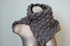 Hand Knit Nora convertible COWL  Heather Grey by dahliainbloom, $44.99