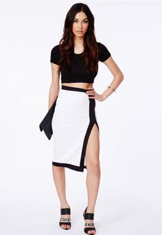 Isidora Monochrome Midi Skirt - Skirt - Midi Skirt -Missguided