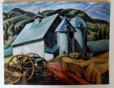 $4.50  Fine ART Greeting Card THE White Barn Eastern Townships 1941 BY Ethel Seath | eBay #artcard #barn #greetingcard