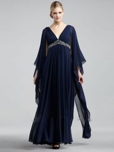 A-Linje/Prinsesse Chiffong V-hals Lange ermer Gulvlengde Perler Kjoler
