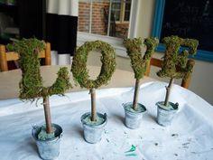 DIY Moss : DIY Topiary Love: Easy Letter Topiaries