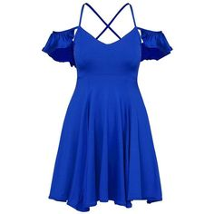 Royal Blue Crisscross-Back Cold-Shoulder Skater Dress Lookbook Store ($25) ❤ liked on Polyvore featuring dresses, cold shoulder dresses, cross back skater dress, electric blue dress, cross back dress and cut-out shoulder dresses