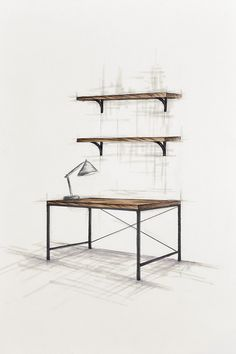 Handcrafted bespoke wooden office table with metal legs. Wooden book shelfs. modern, rustic, industrial furnitures.