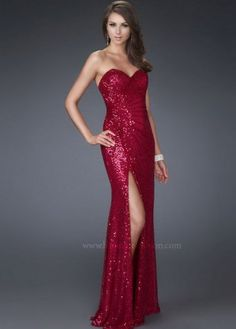 Long Sparkly Gathering Side Slit La Femme 16546 Red Evening Gown