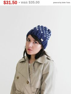 b523993e4b1 Women s Gift - Winter Fair Isle Knit Hat - Slouchy Hat - Chunky Knitted  Beanie - Fall Hat in Navy and Snow White