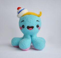 Une pieuvre bleue turquoise avec aiguille chapeau par IrraNellie