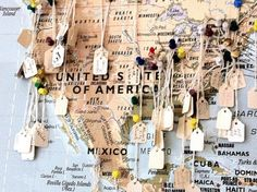 Travel Map. I love this idea. A wonderful way to keep track of travels, places, names and to mark memorable occassions. I need a wall in my house dedicated to all the wonderful that I have been lucky enough to experience - as well as those that are to come.