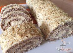 Diós-karamellás tekercs | TopReceptek.hu Sweet Cooking, Broccoli Casserole, Sweet Cakes, Banana Bread, Cake Recipes, Cheesecake, Food And Drink, Veggies, Menu
