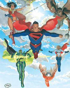 Superman and The justice league Comic Book Characters, Comic Character, Comic Books Art, Comic Art, Alex Ross, Dc Comics Superheroes, Arte Dc Comics, Marvel Comics, Marvel Actors