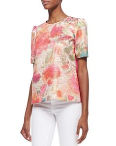 haley puff-sleeve floral-front top, multicolor by kate spade new york at Neiman Marcus.